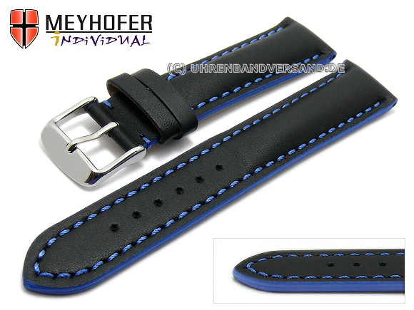 1ff55039e Watch strap -Paracatu- 21mm black leather smooth blue stitching by MEYHOFER  (width of