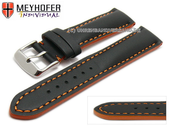 8f2e4f51bf2 Watch strap -Paracatu- 20mm black leather smooth orange stitching by  MEYHOFER (width of