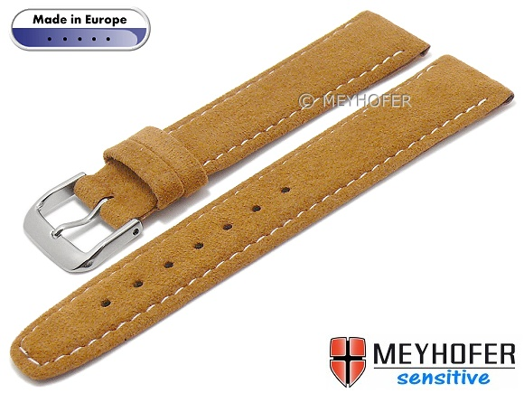 4eef705084f Watch strap -Caporetto- 16mm light brown VEGAN suede like by MEYHOFER  (width of
