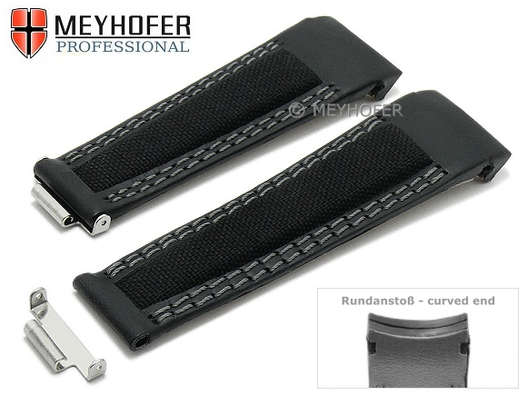 9b856b2e748 Watch strap -Fairfield- 20mm black leather textile for Rolex with curved  ends by