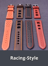 Watch straps in racing/rally design