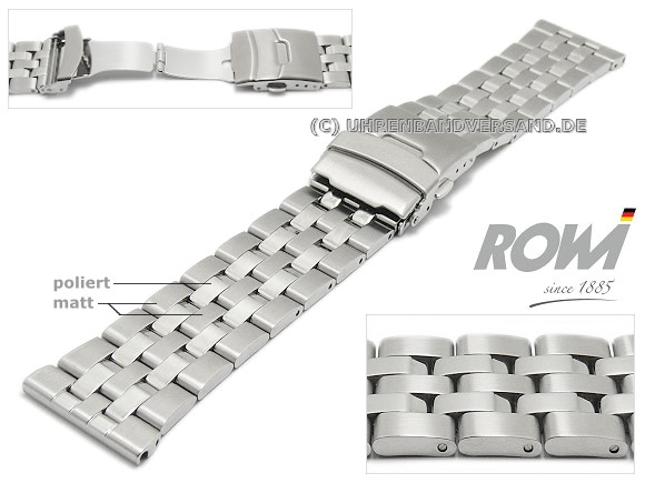 25b37483f04 Watch strap 26mm stainless steel solid partly polished deployment clasp by  ROWI - Bild vergrößern