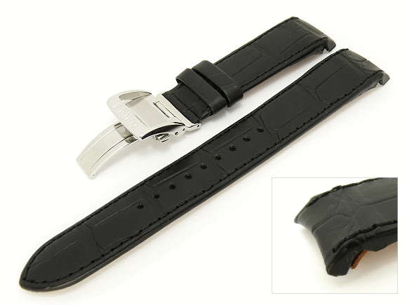 f79b96141fa Replacement watch strap SEIKO 21mm black leather alligator grain with  curved ends for SPB001J9 etc.