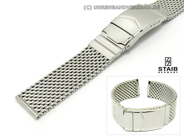 606c2bce1 Watch band short stainless steel 18mm mesh polished robust by Staib - Bild  vergrößern