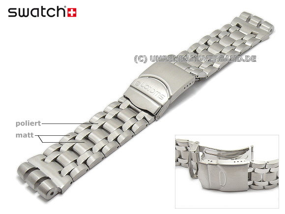 8290b449b1d Replacement strap Swatch -GET FLY BLACK- 23mm silver coloured stainless  steel solid partly polished
