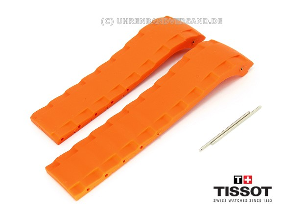 Replacement Watch Strap Tissot Sea Touch 22mm Orange Caoutchouc For
