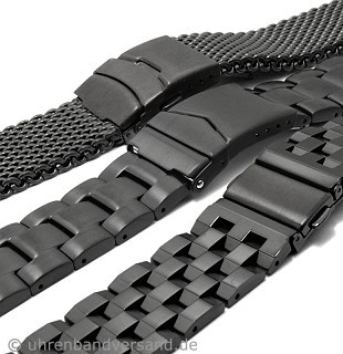 Black stainless steel watch bands in diverse designs