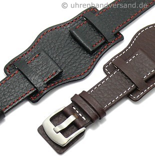 Watch strap with leather pad \-Tempelhof\- stitching from MEYHOFER