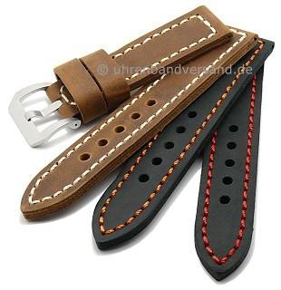 Watch straps \-Trondheim\- antique-look calfskin strong stitching from MEYHOFER