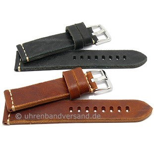 Vintage leather watch strap hand made in Italy light contrast stitching from CAMPAGNOLO