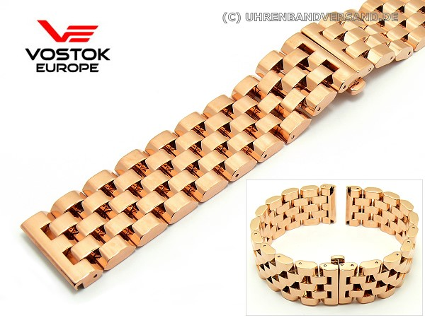 Replacement Watch Strap Vostok Europe 23mm Stainless Steel Rose Gold Solid Polished
