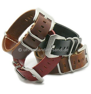One-piece strap military look leather with 3 stainless steel loops